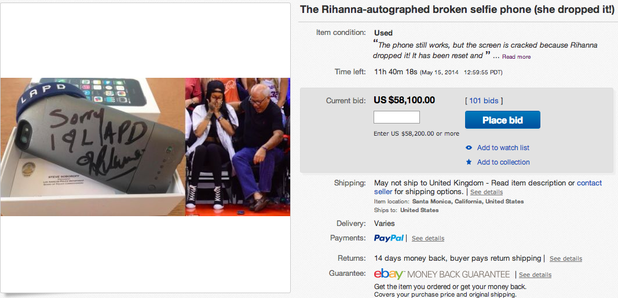 Rihanna broken phone ebay