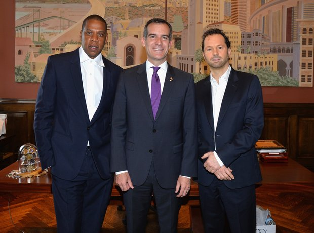 Jay Z, Los Angeles Mayor Eric Garcetti and Presid