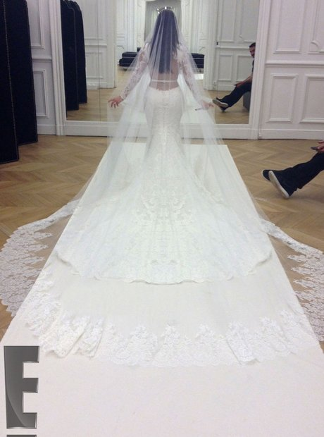 Kim Kardashian wedding dress at Kanye West marriage