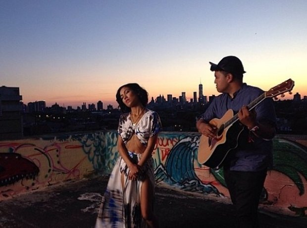 Jhene Aiko performing on a roof