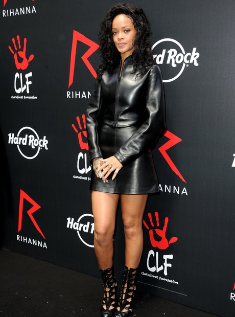 Rihanna wearign a leather outfit