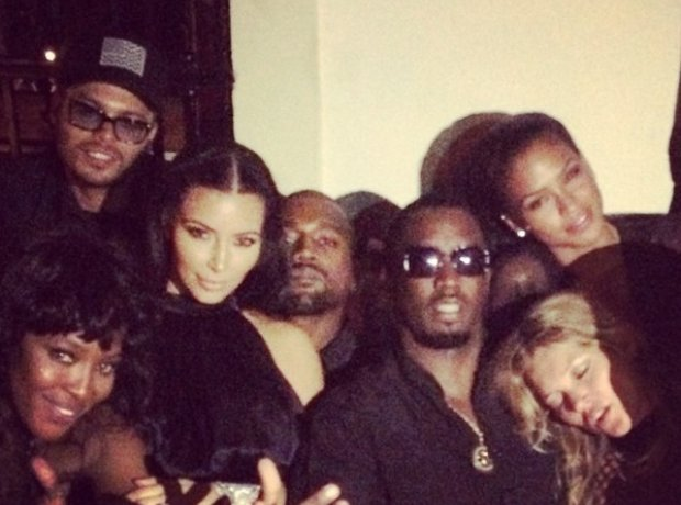 Diddy with Kanye West, Kim Kardashian, Kate Moss