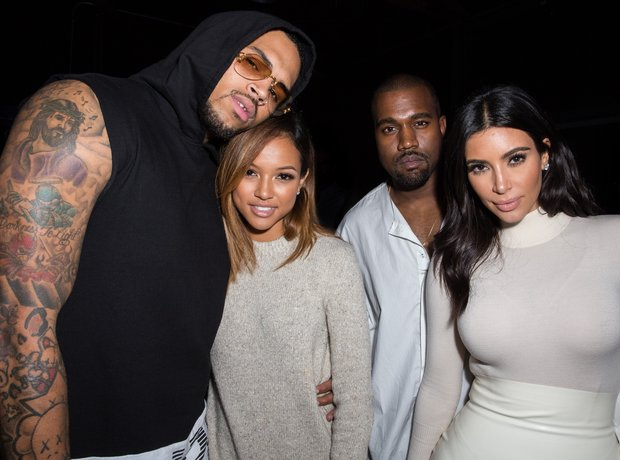 Chris Brown, Karrueche Tran Kanye West and  Kim Ka
