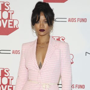 Rihanna in pink two-piece suit