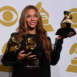 Beyonce backstage with her Grammy Awards