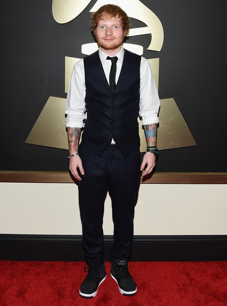 Ed Sheeran arrives at he Grammy Awards 2015