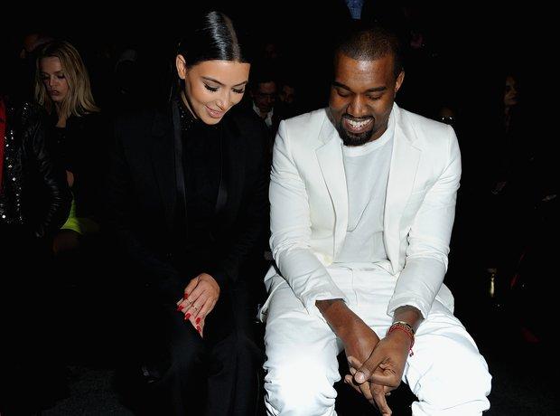 Kanye Smiling with Kim Kardashian