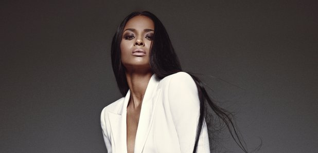 Ciara in a press picture wearing white
