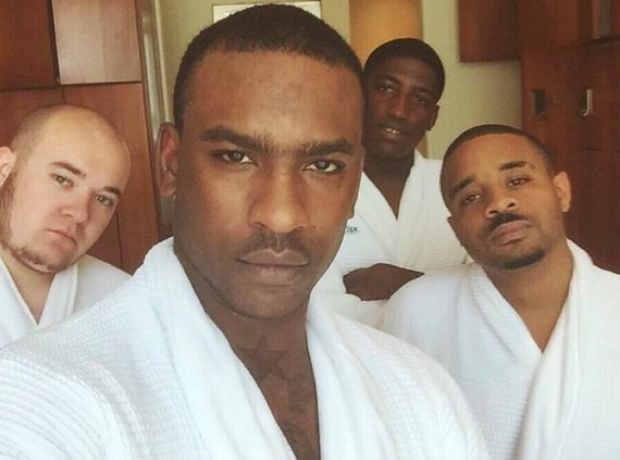 Skepta wearing robe