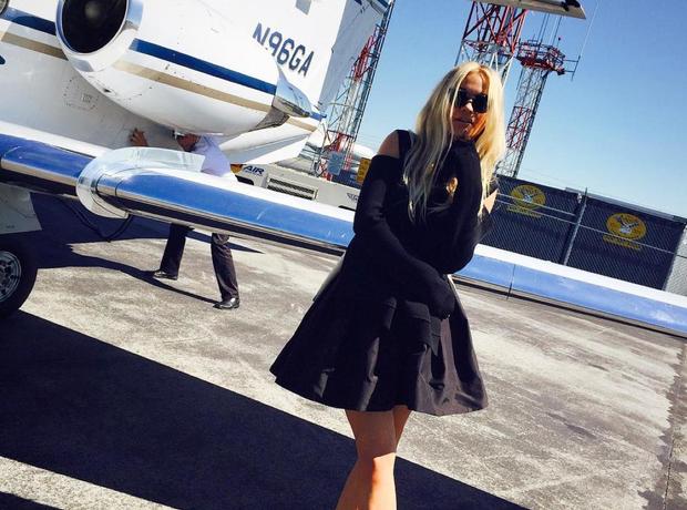 Rita Ora by a private jet