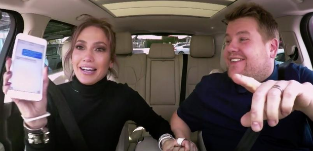 J Lo and James Corden in car