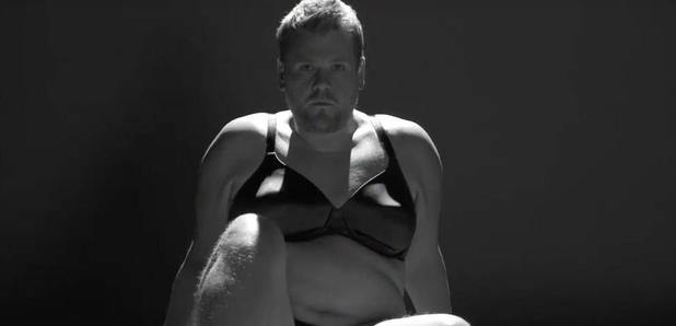 James Corden wearing bra