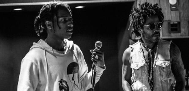 ASAP Rocky Lenny Kravitz in studio