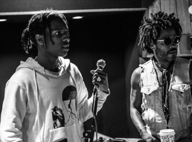 ASAP Rocky Lenny Kravitz in studio