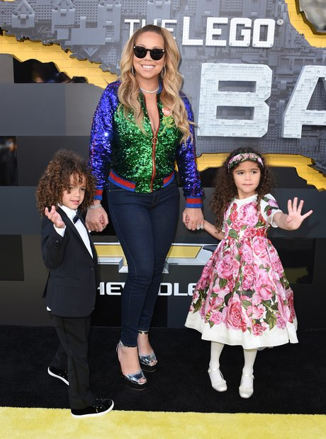 Mariah Carey and children at Lego Batman premiere