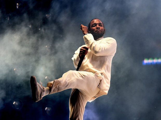 Kendrick Lamar performing at Coachella 2017